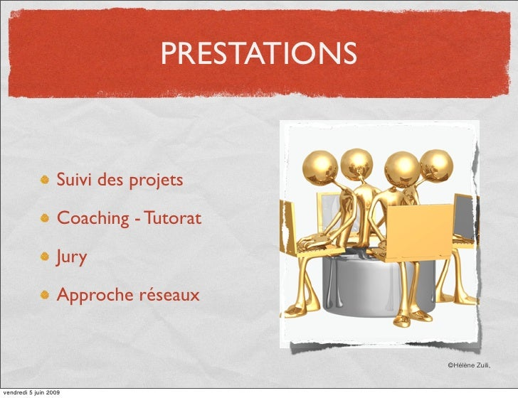 PRESTATIONS                     Suivi des projets                    Coaching - Tutorat                    Jury           ...