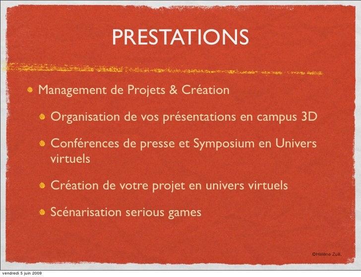 PRESTATIONS                    Management de Projets & Création                         Organisation de vos présentations ...