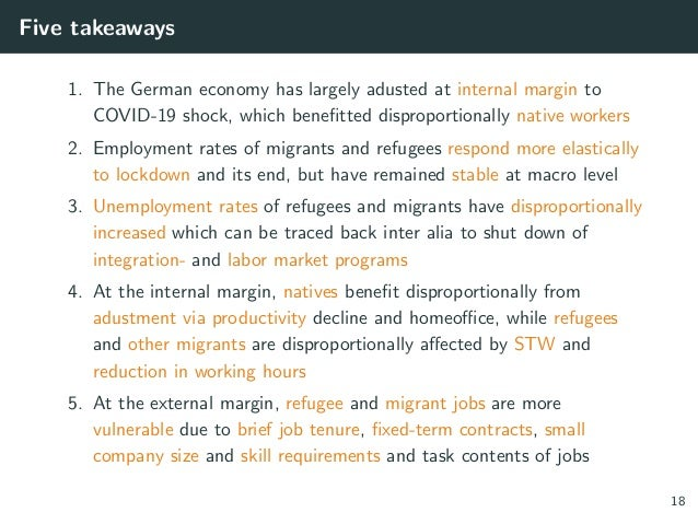 Five takeaways 1. The German economy has largely adusted at internal margin to COVID-19 shock, which benefitted disproport...