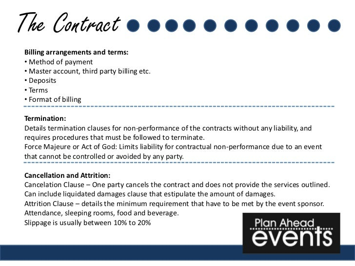 event planning sample contract