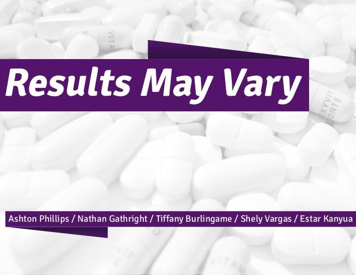Results May VaryAshton Phillips / Nathan Gathright / Tiffany Burlingame / Shely Vargas / Estar Kanyua