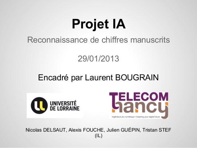 Projet IAReconnaissance de chiffres manuscrits                     29/01/2013     Encadré par Laurent BOUGRAINNicolas DELS...