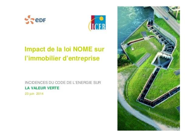 Impact de la loi NOME sur  l'immobilier d'entreprise  INCIDENCES DU CODE DE L'ENERGIE SUR  LA VALEUR VERTE  23 juin 2014