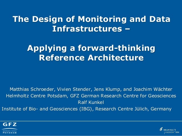 The Design of Monitoring and Data Infrastructures – Applying a forward-thinking Reference Architecture  Matthias Schroeder...