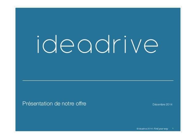 11© ideadrive 2014 I Find  your  way   Présentation de notre offre  Décembre 2014