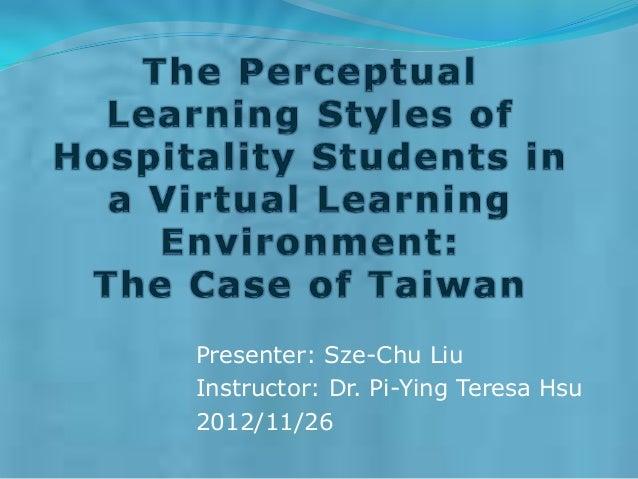 Presenter: Sze-Chu LiuInstructor: Dr. Pi-Ying Teresa Hsu2012/11/26