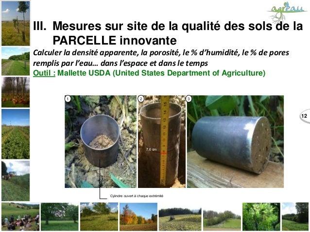 12 1 2 3 7,6 cm Cylindre ouvert à chaque extrémité III. Mesures sur site de la qualité des sols de la PARCELLE innovante C...