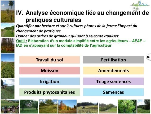 13 IV. Analyse économique liée au changement de pratiques culturales Quantifier par hectare et sur 2 cultures phares de la...
