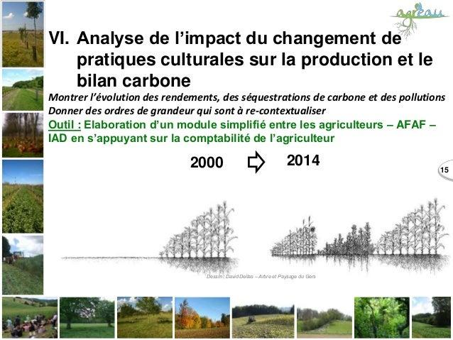 15 VI. Analyse de l'impact du changement de pratiques culturales sur la production et le bilan carbone Montrer l'évolution...