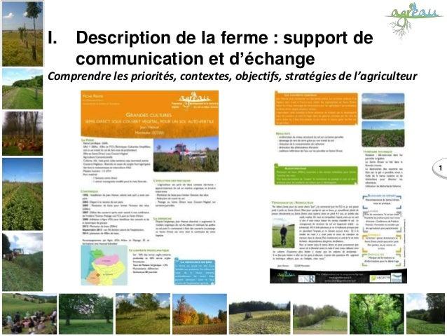 1 I. Description de la ferme : support de communication et d'échange Comprendre les priorités, contextes, objectifs, strat...
