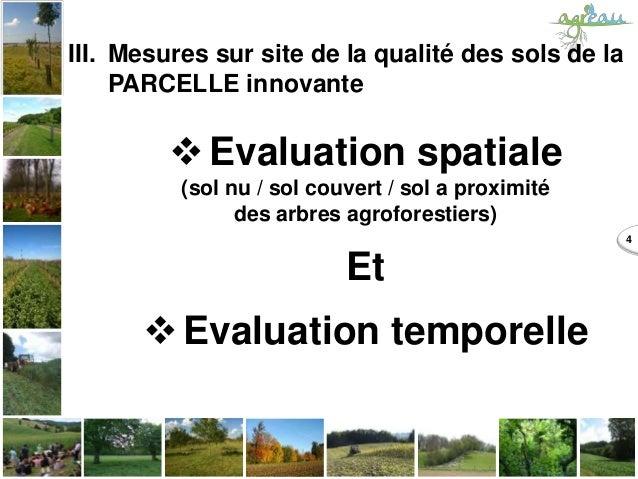 4 III. Mesures sur site de la qualité des sols de la PARCELLE innovante Evaluation spatiale (sol nu / sol couvert / sol a...