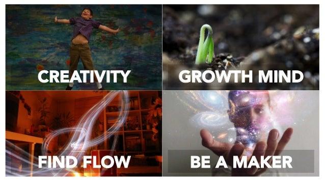 CREATIVITY  GROWTH MIND FIND FLOW  BE A MAKER