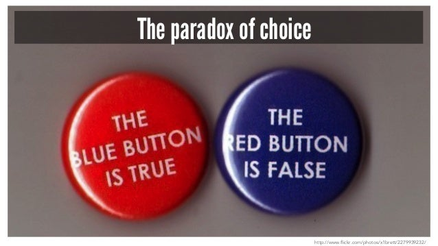 The paradox of choice http://www.flickr.com/photos/x1brett/2279939232/
