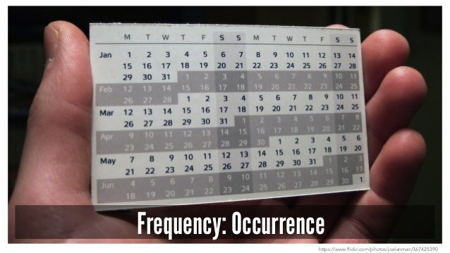 Frequency: Occurrence https://www.flickr.com/photos/joelanman/367425390