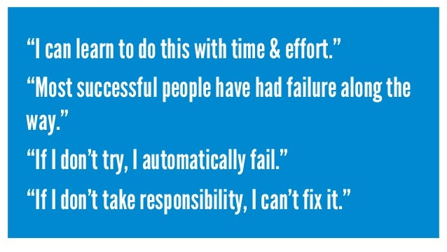 """I can learn to do this with time & effort."" ""Most successful people have had failure along the way."" ""If I don't try, I a..."
