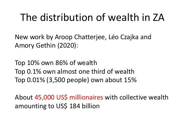 The distribution of wealth in ZA New work by Aroop Chatterjee, Léo Czajka and Amory Gethin (2020): Top 10% own 86% of weal...