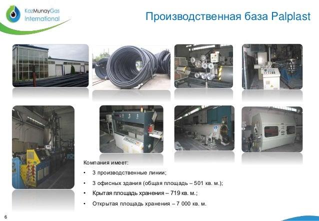 Производственная база Palplast  6  Компания имеет:  • 3 производственные линии;  • 3 офисных здания (общая площадь – 501 к...