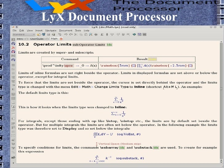 presentation in lyx document processor