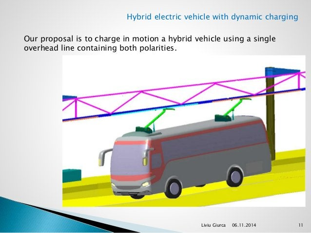 Hybrid electric vehicle with dynamic charging  Our proposal is to charge in motion a hybrid vehicle using a single  overhe...