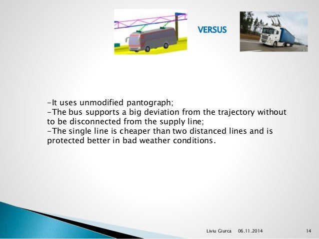 VERSUS  -It uses unmodified pantograph;  -The bus supports a big deviation from the trajectory without  to be disconnected...