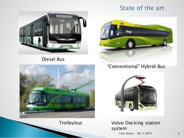 """State of the art  Liviu Giurca 06.11.2014 2  Diesel Bus  """"Conventional"""" Hybrid Bus  Trolleybus Volvo Docking station  syst..."""