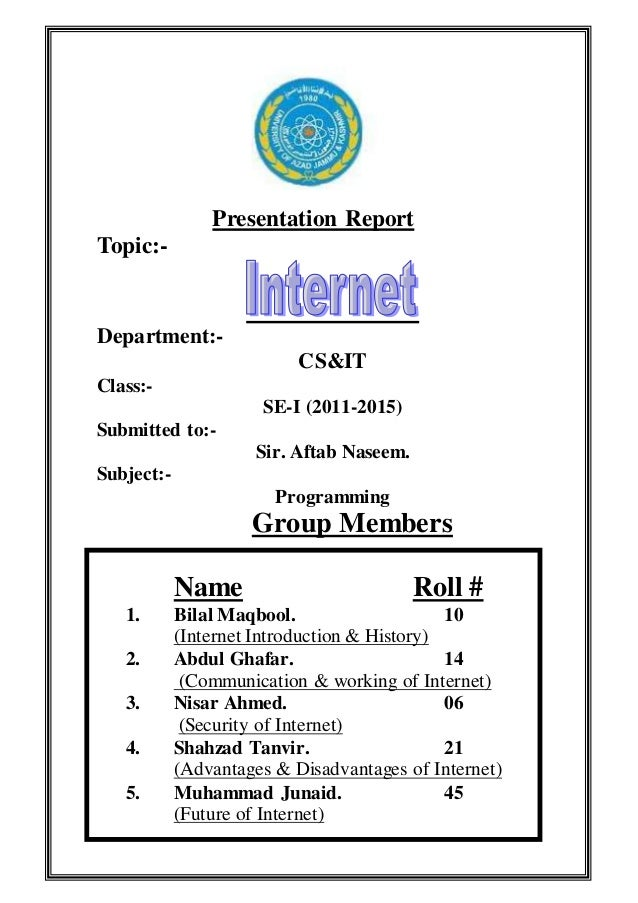Presentation internet programming report