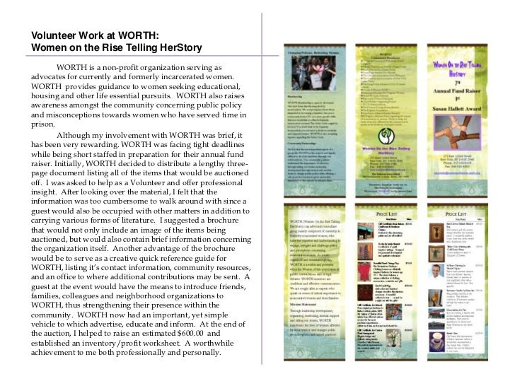 Volunteer Work at WORTH:Women on the Rise Telling HerStory         WORTH is a non-profit organization serving asadvocates ...