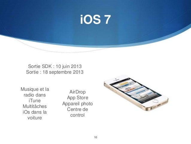 iOS 7  Sortie SDK : 10 juin 2013 Sortie : 18 septembre 2013  Musique et la radio dans iTune Multitâches iOs dans la voitur...