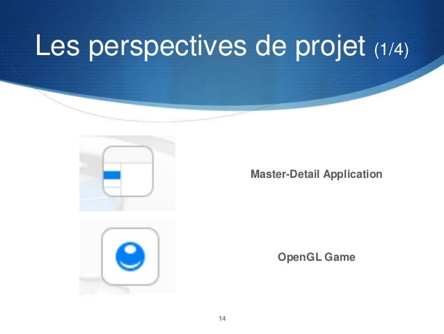 Les perspectives de projet (1/4)  Master-Detail Application  OpenGL Game  14