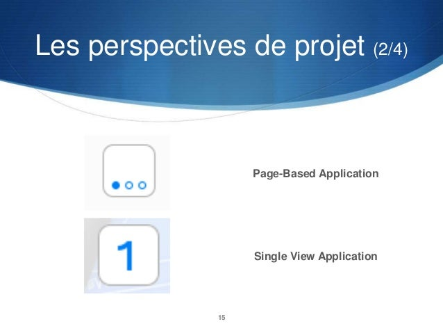 Les perspectives de projet (2/4)  Page-Based Application  Single View Application  15
