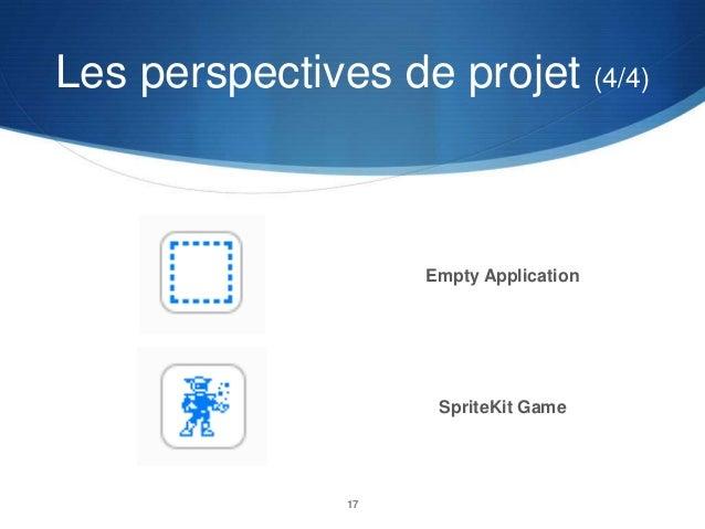 Les perspectives de projet (4/4)  Empty Application  SpriteKit Game  17