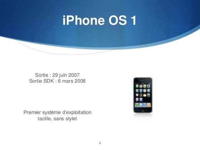 iPhone OS 1  Sortie : 29 juin 2007 Sortie SDK : 6 mars 2008  Premier système d'exploitation tactile, sans stylet  4