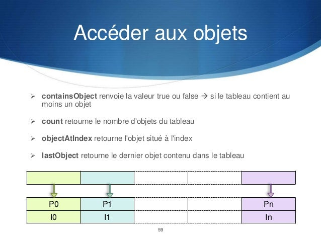 Accéder aux objets  containsObject renvoie la valeur true ou false  si le tableau contient au  moins un objet  count re...