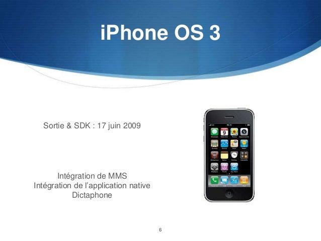 iPhone OS 3  Sortie & SDK : 17 juin 2009  Intégration de MMS Intégration de l'application native Dictaphone  6