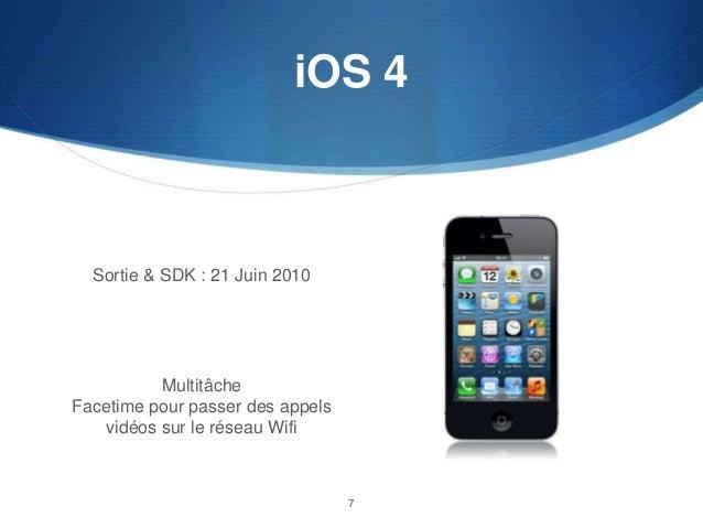 iOS 4  Sortie & SDK : 21 Juin 2010  Multitâche Facetime pour passer des appels vidéos sur le réseau Wifi  7