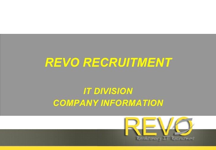 REVO RECRUITMENT IT DIVISION COMPANY INFORMATION