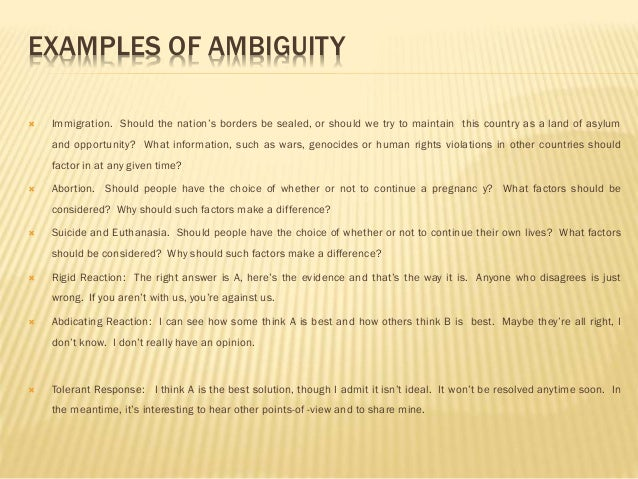 examples of ambiguity in literature