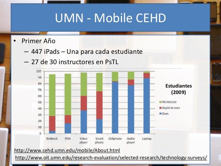 UMN - Mobile CEHD• Primer Año   – 447 iPads – Una para cada estudiante   – 27 de 30 instructores en PsTL                  ...