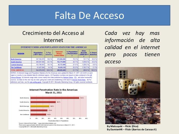 Falta De AccesoCrecimiento del Acceso al   Cada vez hay mas        Internet            información de alta                ...