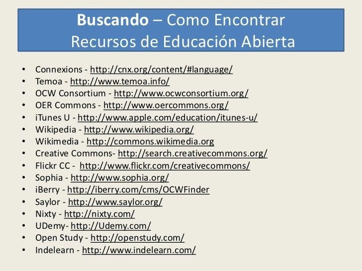 Buscando – Como Encontrar           Recursos de Educación Abierta•   Connexions - http://cnx.org/content/#language/•   Tem...