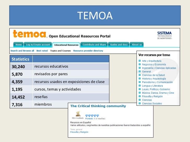 TEMOAStatistics30,240       recursos educativos5,870        revisados por pares4,359        recursos usados en exposicione...