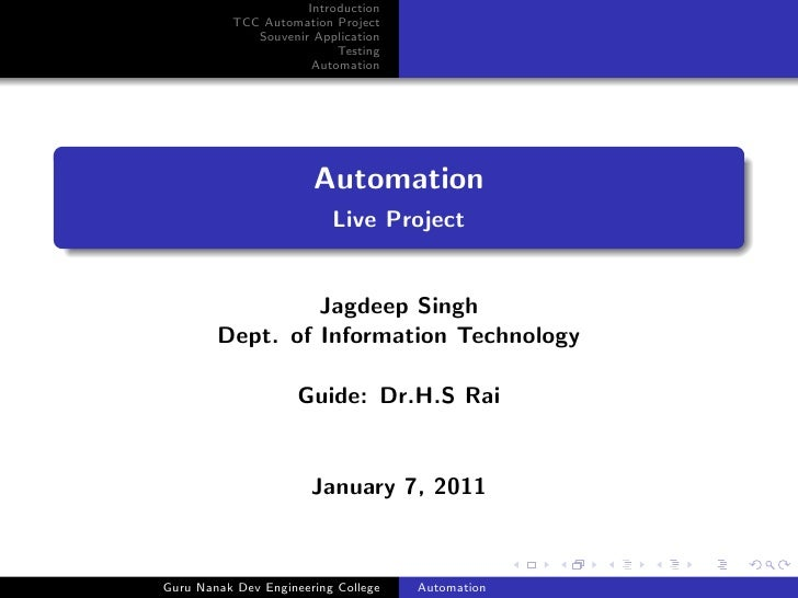Introduction           TCC Automation Project              Souvenir Application                           Testing         ...