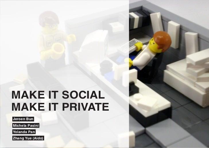 MAKE IT SOCIALMAKE IT PRIVATEJeroen BunMichela PasiniYolanda PanZhang Yue (Aido)