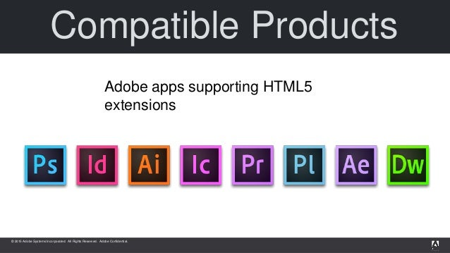 © 2015 Adobe Systems Incorporated. All Rights Reserved. Adobe Confidential. Adobe apps supporting HTML5 extensions Compati...