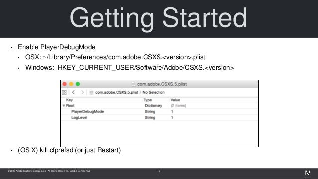 © 2015 Adobe Systems Incorporated. All Rights Reserved. Adobe Confidential. Getting Started • Enable PlayerDebugMode • OSX...