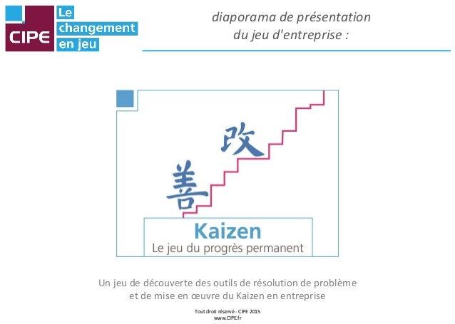 Tout droit réservé - CIPE 2015 www.CIPE.fr diaporama de présentation du jeu d'entreprise : Un jeu de découverte des outils...