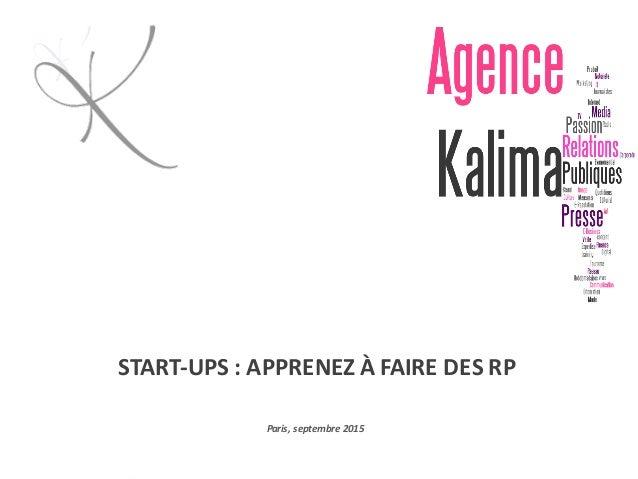 START-UPS:APPRENEZÀFAIREDESRP Paris,septembre2015