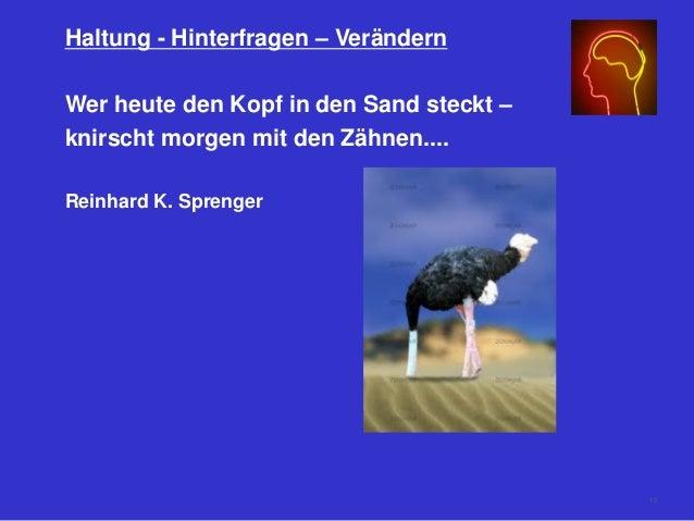 Haltung - Hinterfragen – Verändern Wer heute den Kopf in den Sand steckt – knirscht morgen mit den Zähnen.... Reinhard K. ...
