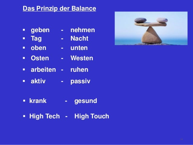 Das Prinzip der Balance  geben - nehmen  Tag - Nacht  oben - unten  Osten - Westen  arbeiten - ruhen  aktiv - passiv...