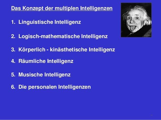 Das Konzept der multiplen Intelligenzen 1. Linguistische Intelligenz 2. Logisch-mathematische Intelligenz 3. Körperlich - ...
